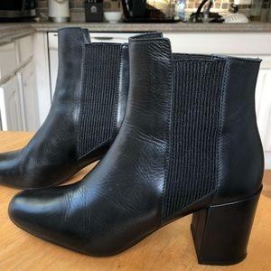 Zara Black Block Heal Chelsea Booties